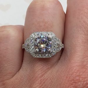 Jewelry - 18k white gold engagement antique ring wedding 3ct